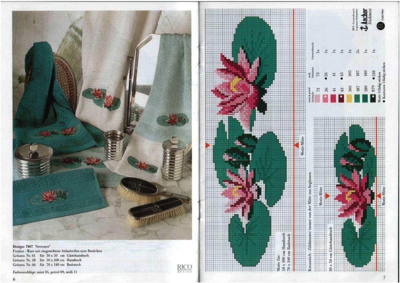 Asciugamani punto croce con fiori di loto - magiedifilo.it punto ... b65cdbea27a7