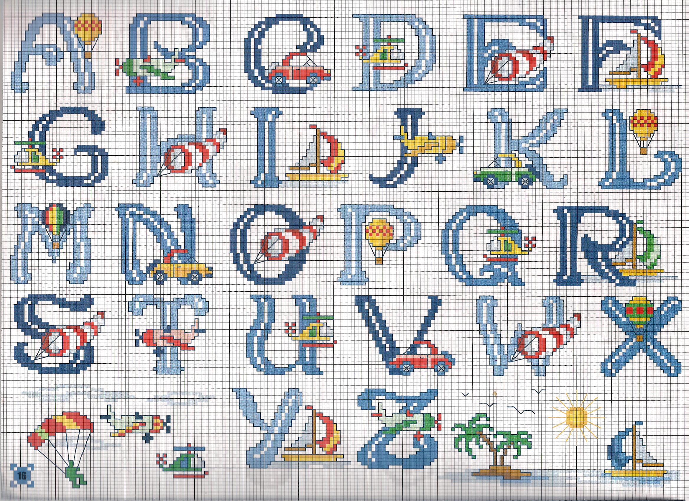 Popolare alfabeto mezzi trasporto - magiedifilo.it punto croce uncinetto  RW64