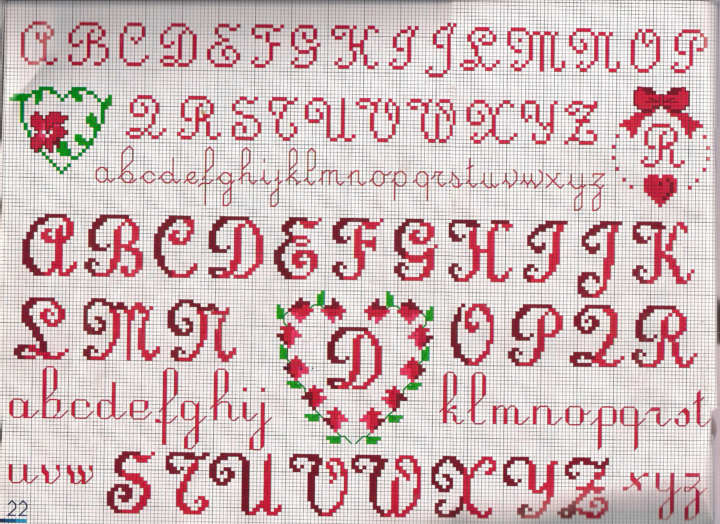 Estremamente alfabeto oblò cuoricino iniziali - magiedifilo.it punto croce  MQ69