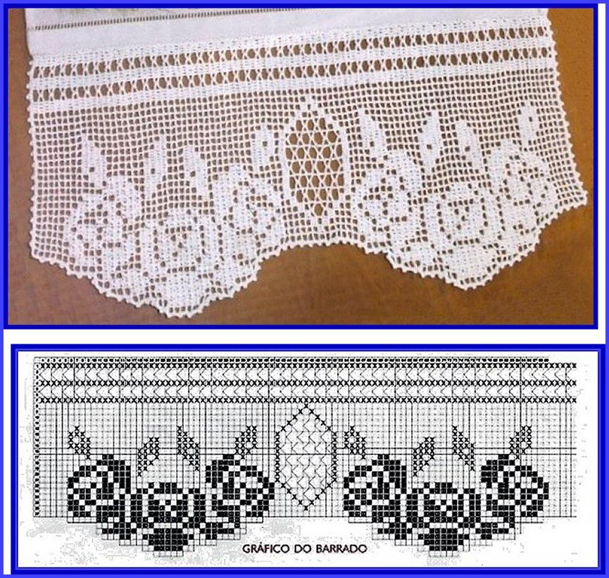 Филейное вязание косынки крючком 3