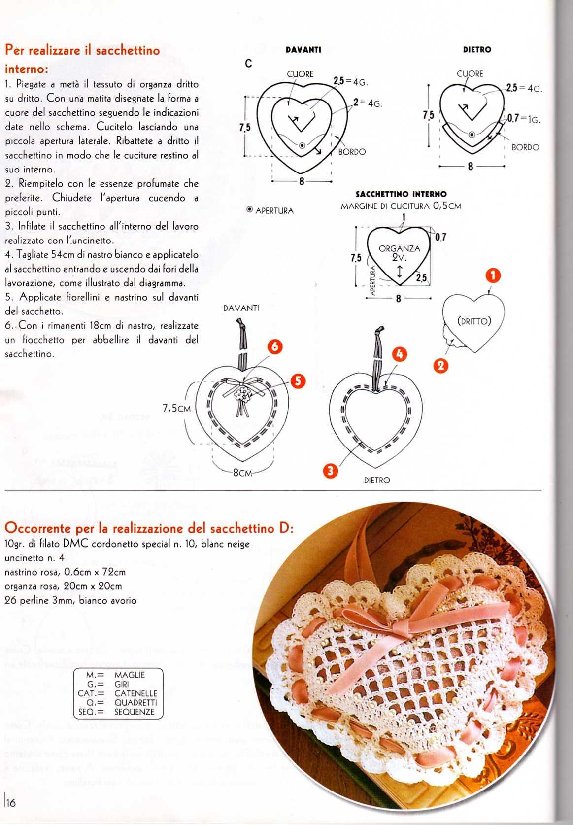 Amato sacchettino uncinetto cuoricino bomboniera (1) - magiedifilo.it  NF09