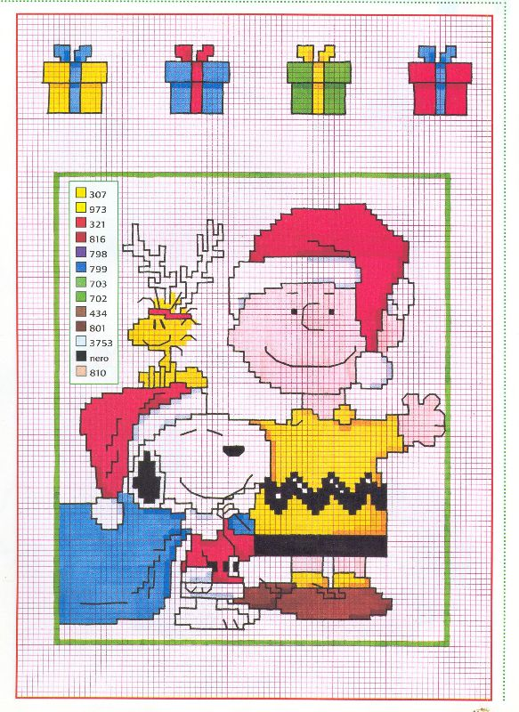 Immagini Natale Snoopy.Snoopy Charlie Brown Woodstock Natale Magiedifilo It Punto Croce