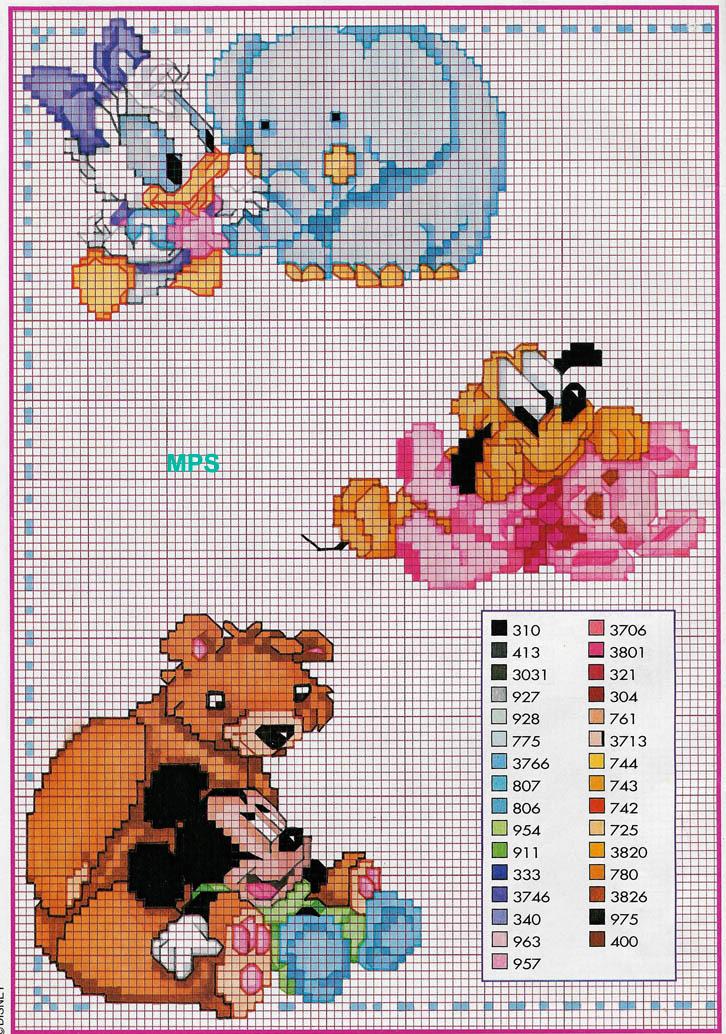 Eccezionale punto croce baby disney con animali - magiedifilo.it punto croce  WB06