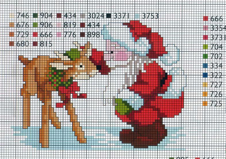 Très babbonatale accarezza una renna schema punto croce - magiedifilo  KX99