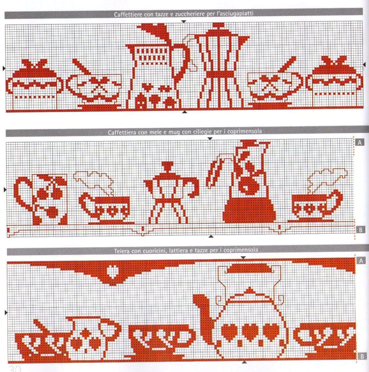 Schemi Punto Croce Strofinacci Cucina.Punto Croce Asciugapiatti Tazze1 Monocolre Rosso Caffettiere