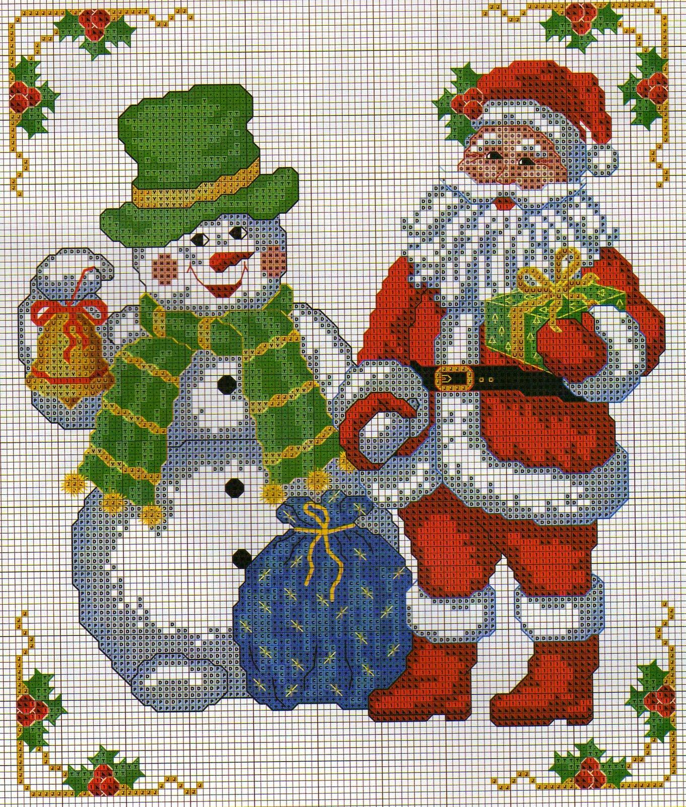 Babbo Natale Punto Croce.Babbo Natale Con Pupazzo Di Neve Punto Croce Magiedifilo It Punto Croce Uncinetto Schemi Gratis Hobby Creativi