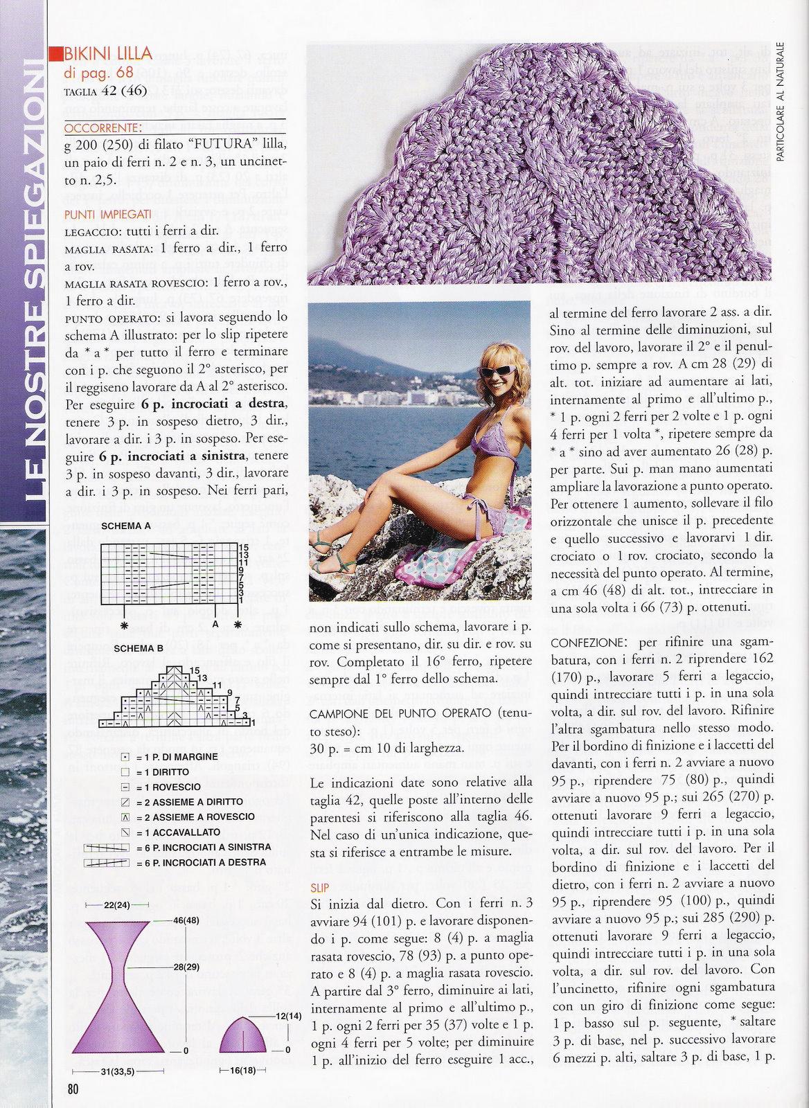 Bikini A Maglia Glicine 2 Magiedifiloit Punto Croce Uncinetto