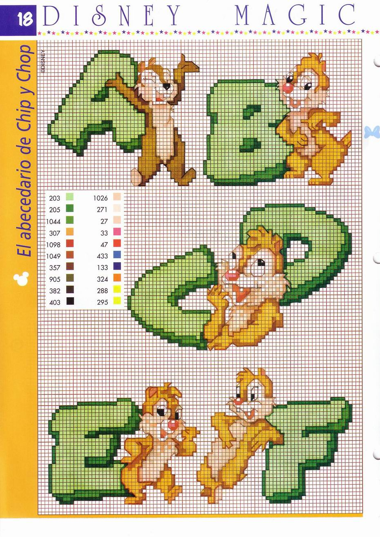 Alfabeto cip e ciop punto croce verde 1 for Alfabeto punto croce disney gratis