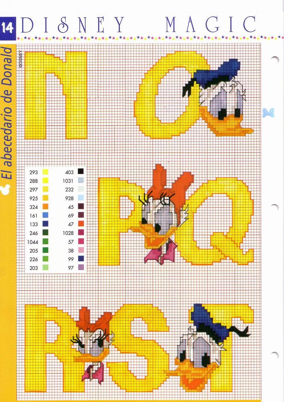 Alfabeto disney giallo con paperino e paperina 4 for Alfabeto disney a punto croce