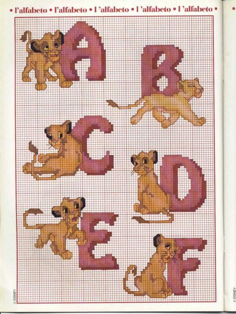 Alfabeto il re leone 1 punto croce for Schemi punto croce alfabeto disney
