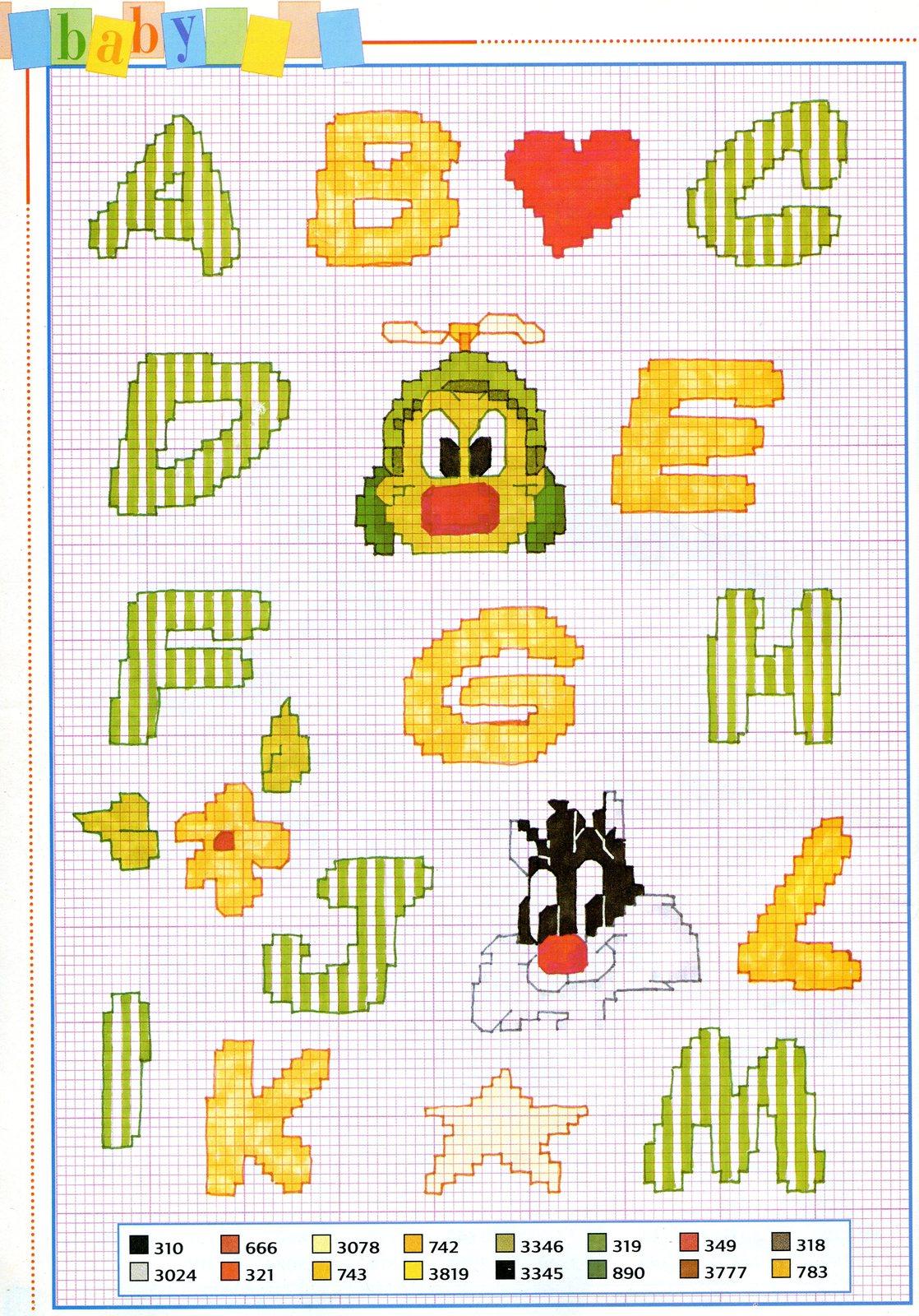 Alfabeto bimbi baby looney tunes 1 for Schemi punto croce alfabeto bambini