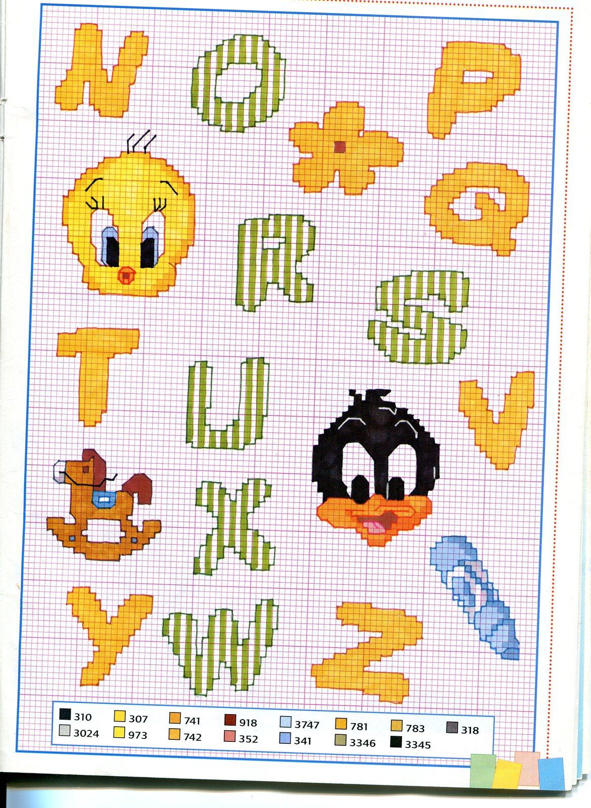 Alfabeto bimbi baby looney tunes 2 for Immagini punto a croce