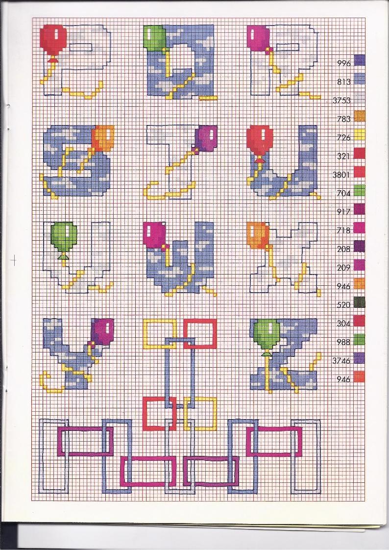 Alfabeto bimbi punto croce con i palloncini colorati 2 for Punto croce schemi alfabeto