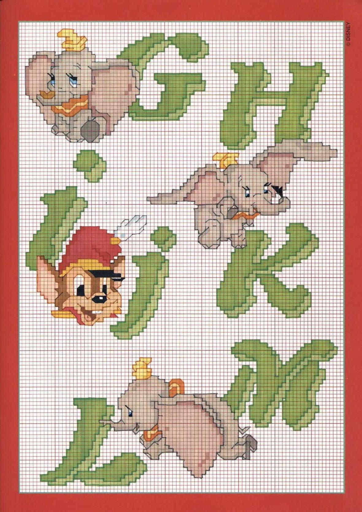 Alfabeto con dumbo l 39 elefante 2 punto for Schemi punto a croce alfabeto