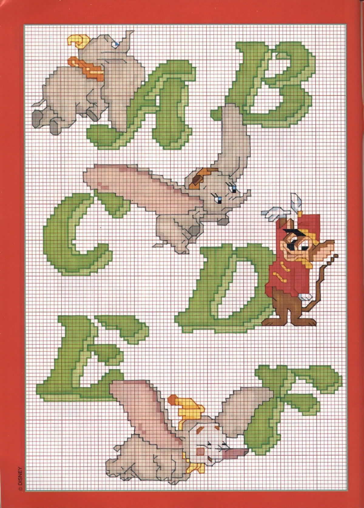 Alfabeto con dumbo l 39 elefante 1 punto for Schemi punto a croce alfabeto