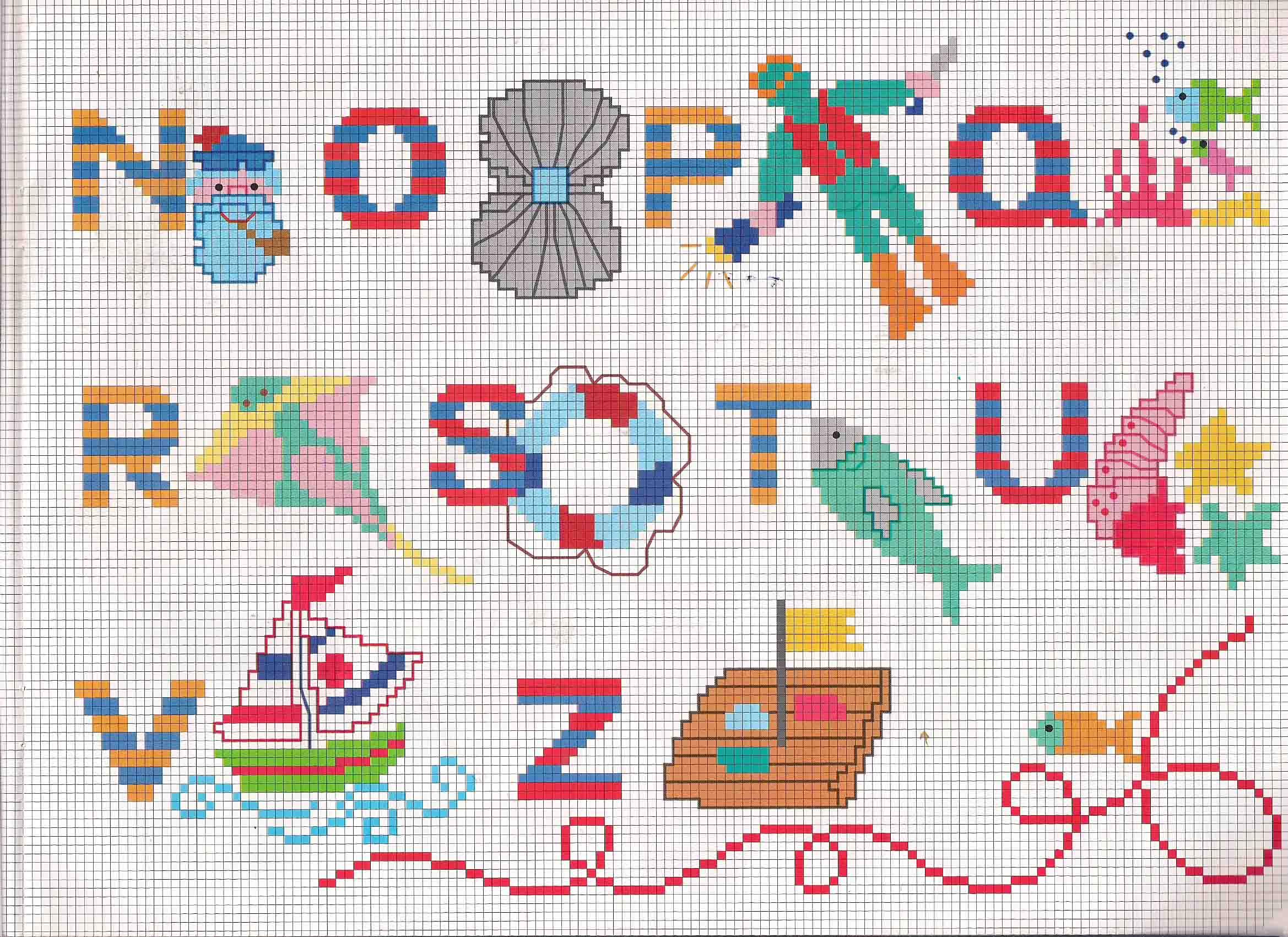 Alfabeto da ricamare con animali del mare e sommozzatore for Schemi punto a croce alfabeto