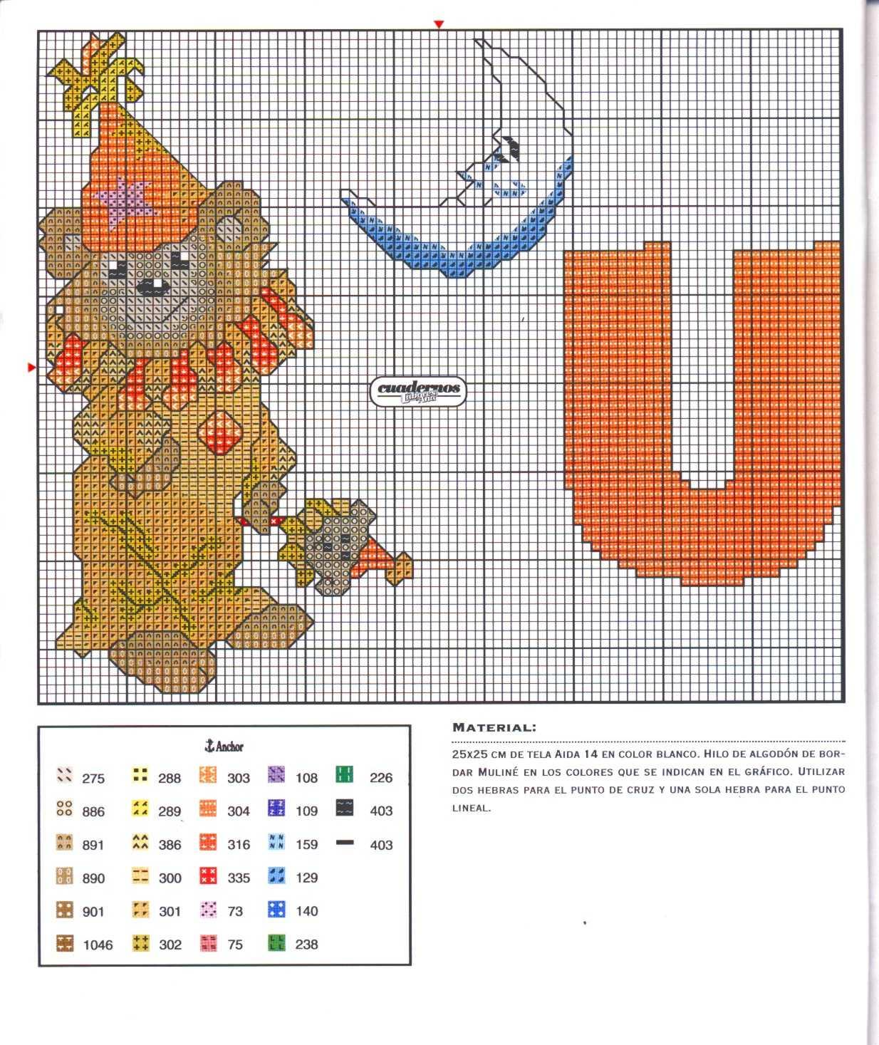 Alfabeto da ricamare con tenerissimi orsetti bimbo 21 for Orsetti a punto croce schemi