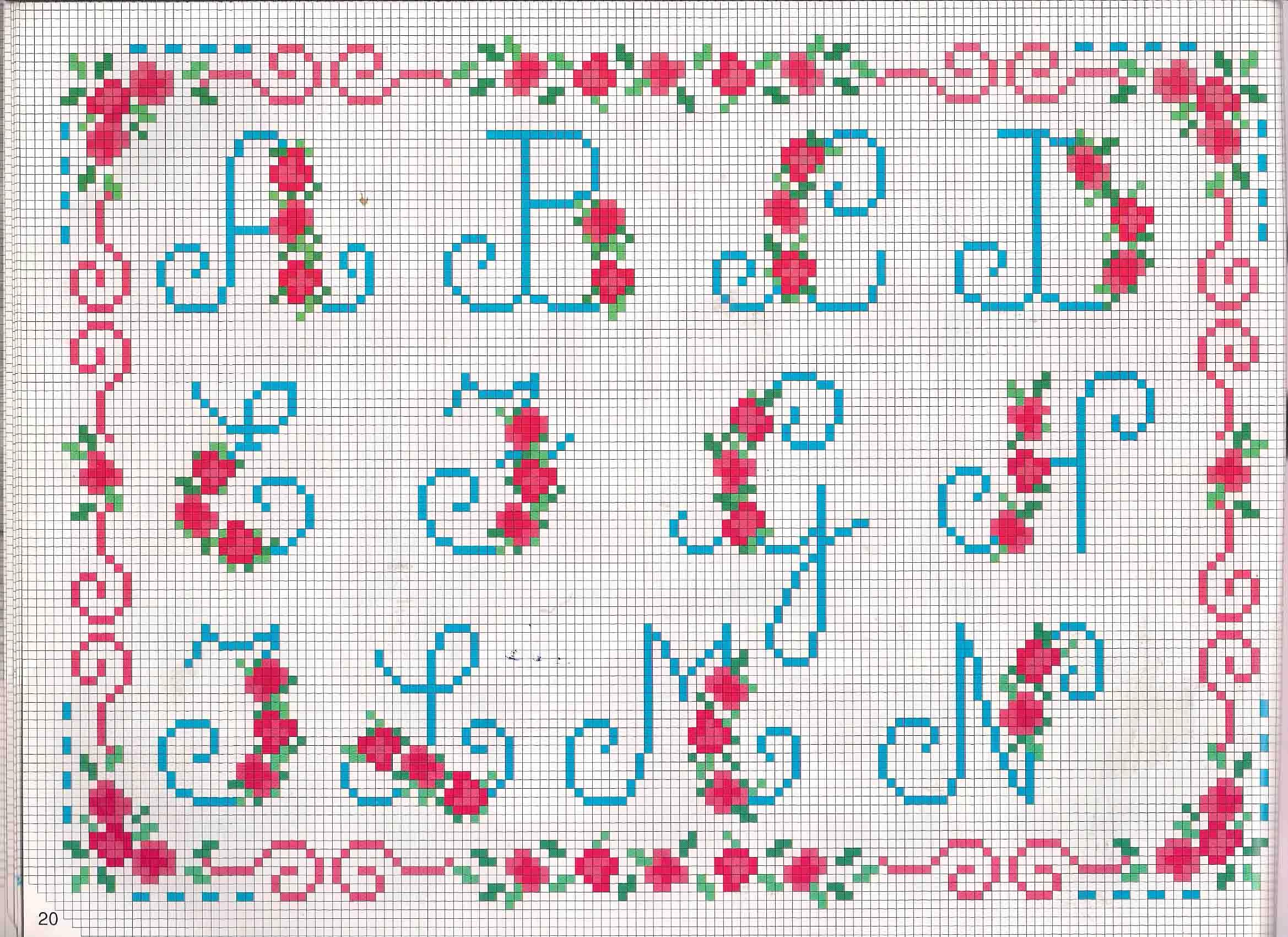 Alfabeto da ricamare lettere azzurre e fragoline di bosco (1) - magiedifilo.it punto croce ...