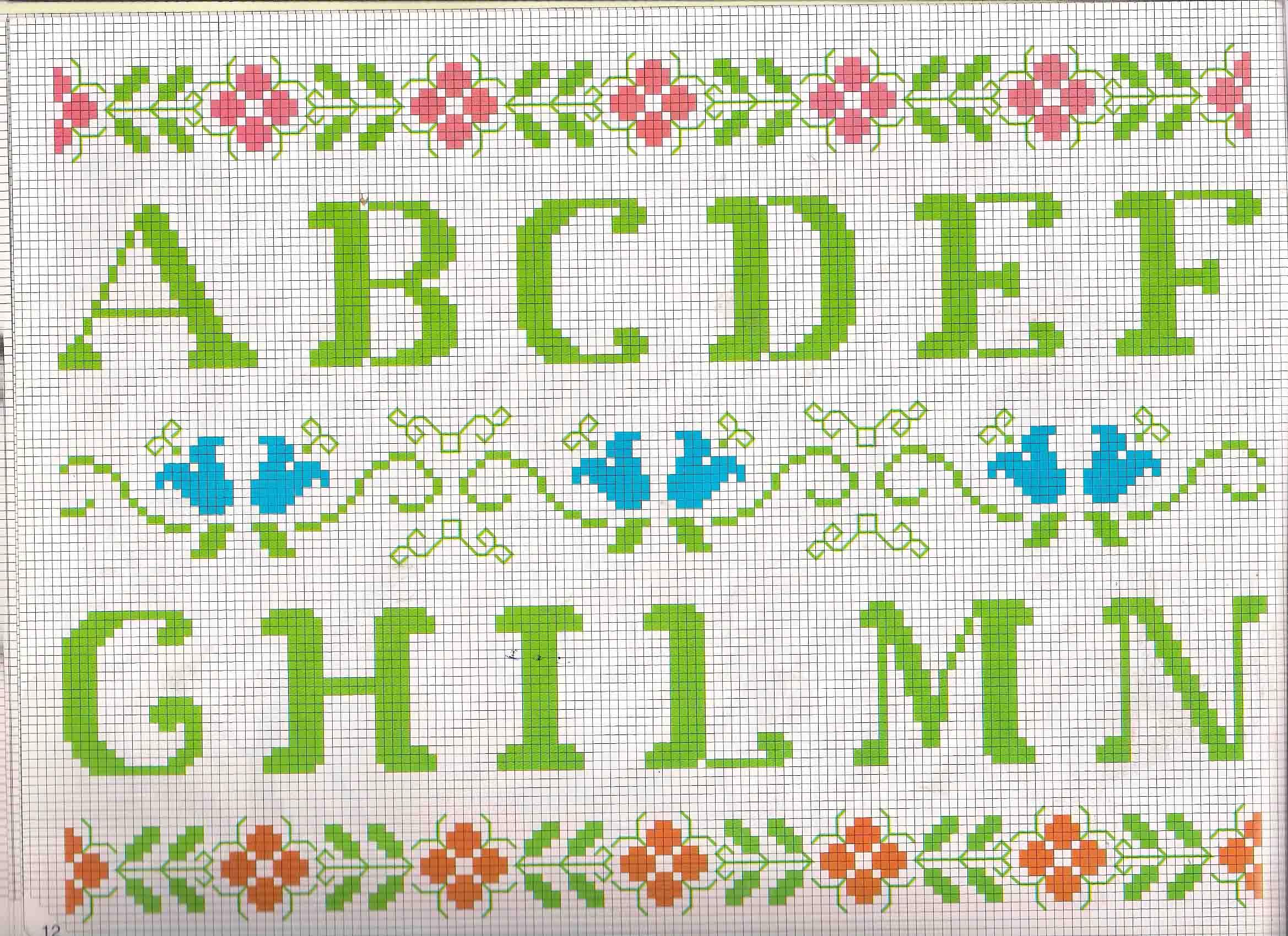 Alfabeto da ricamare lettere verdi e motivi floreali 1 for Ricamo punto croce alfabeto