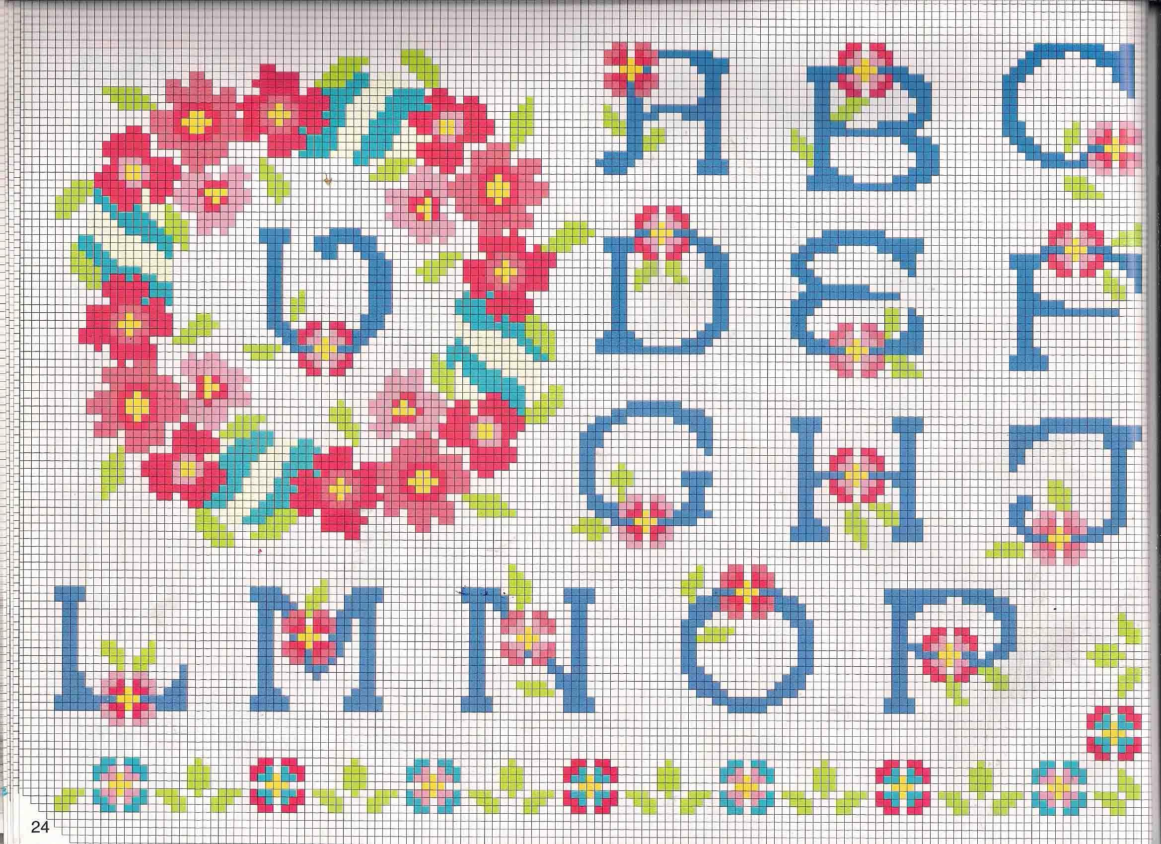 Alfabeto da ricamare maiuscolo e minuscolo con fiori for Schemi punto a croce alfabeto