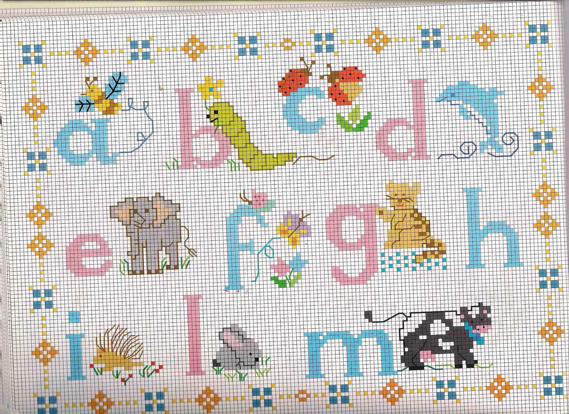 Alfabeto punto croce azzurro rosa con animaletti 1 for Schemi punto croce animali gratis