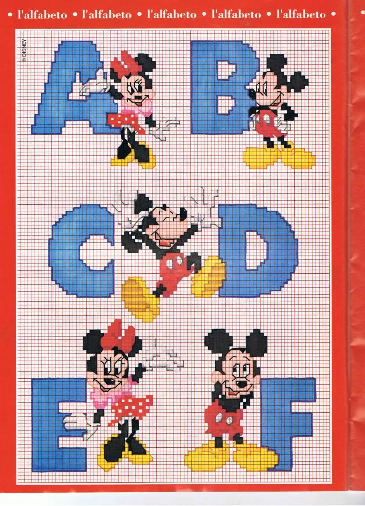 Alfabeto punto croce con disney topolino e minnie 1 for Schemi punto a croce alfabeto