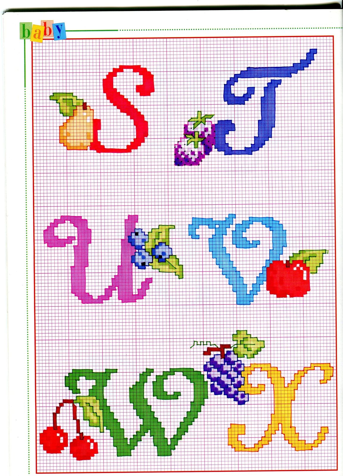 Alfabeto punto croce con cose da mangiare dolci gelati 4 for Alfabeto punto croce grande