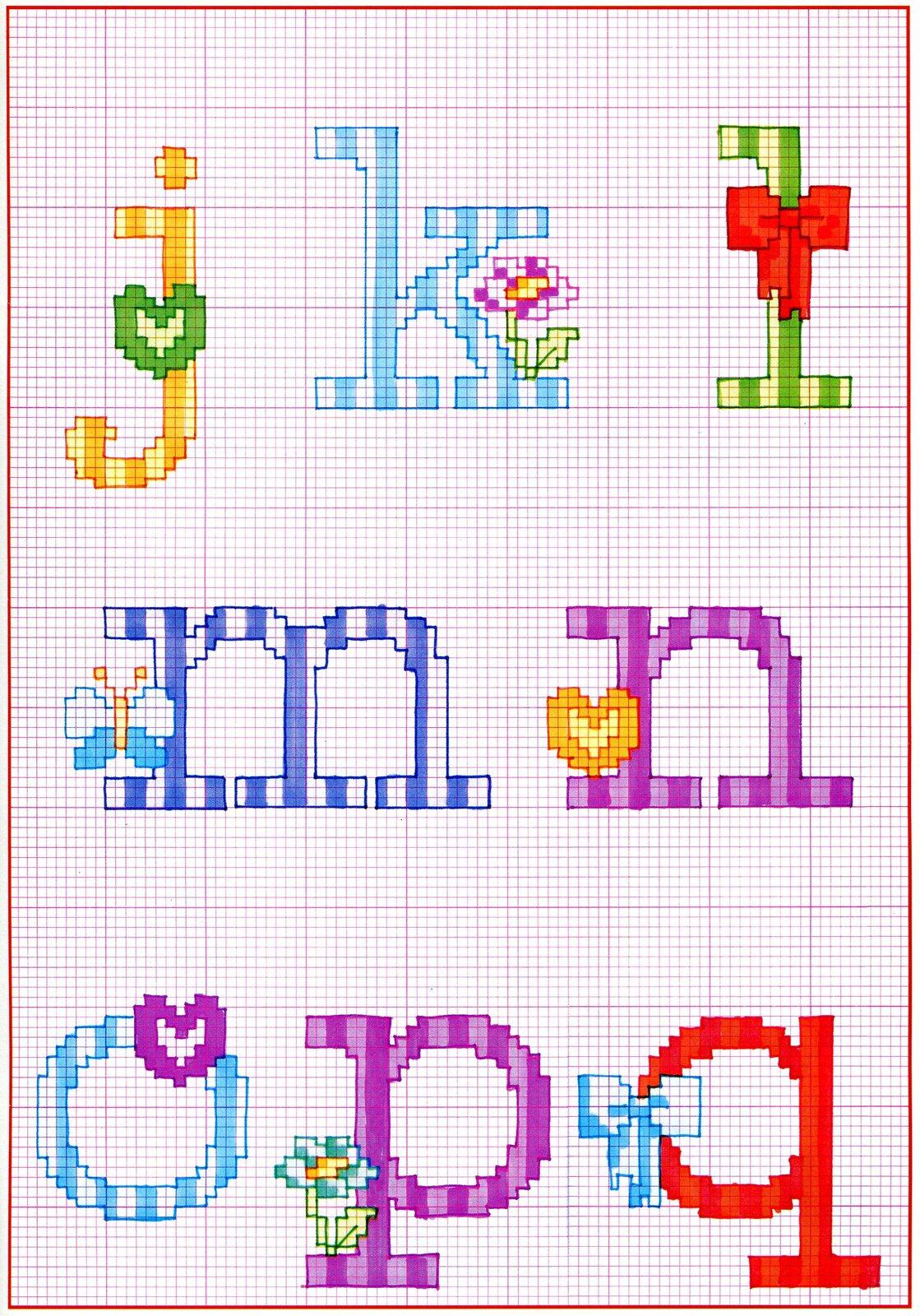 Alfabeto punto croce con fiocchi fiori e farfalle 2 for Schemi punto croce fiori e farfalle