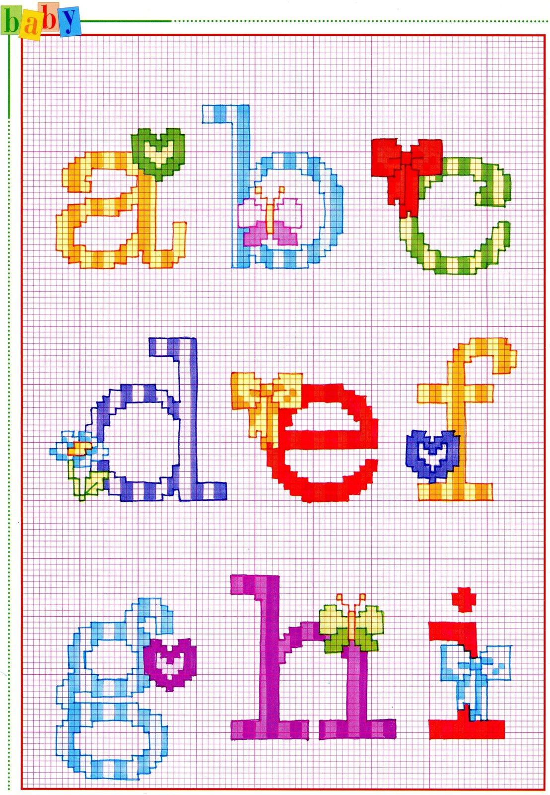 Alfabeto punto croce con fiocchi fiori e farfalle 1 for Farfalle a punto croce