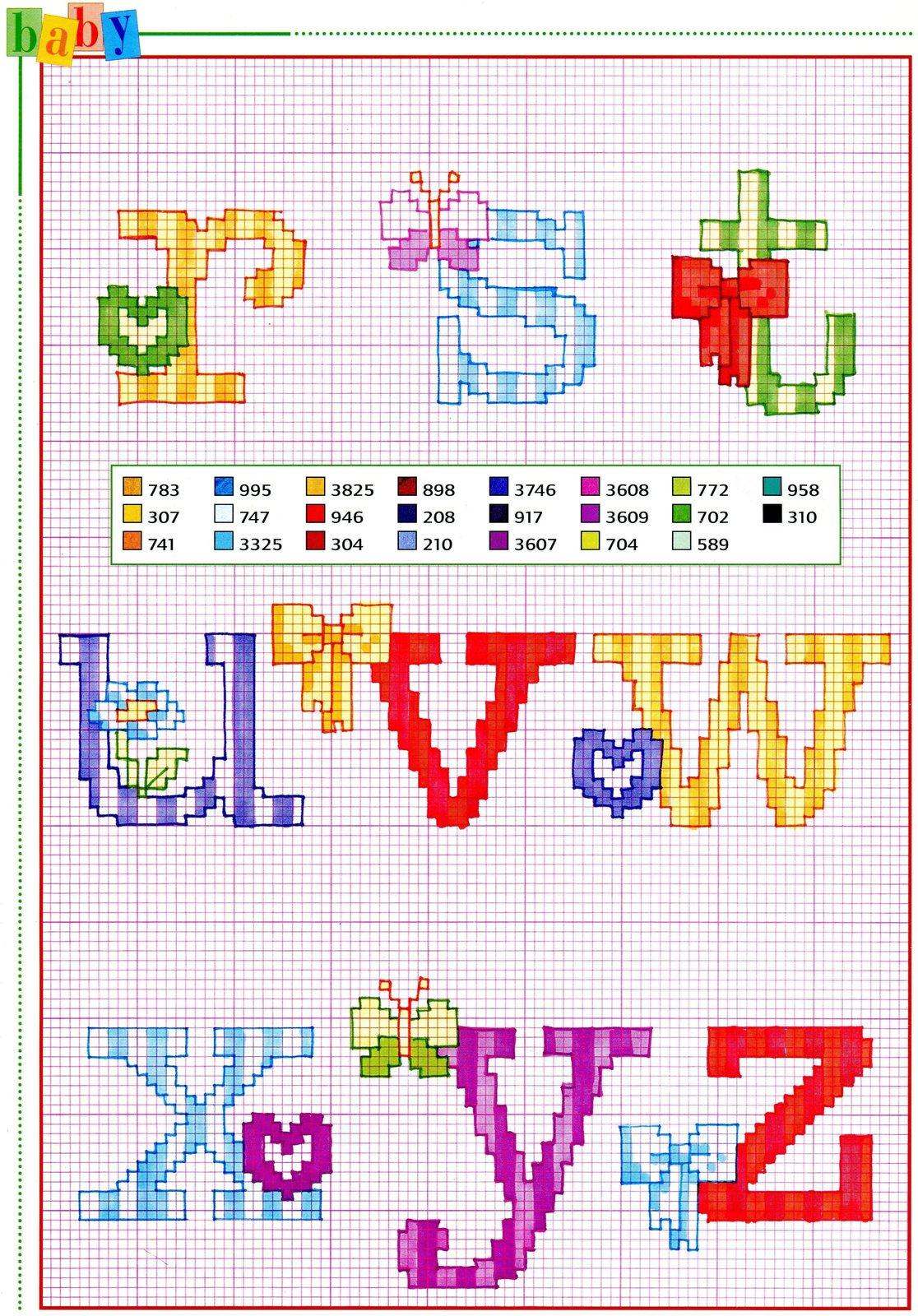 Alfabeto punto croce con fiocchi fiori e farfalle 3 for Punto croce schemi alfabeto