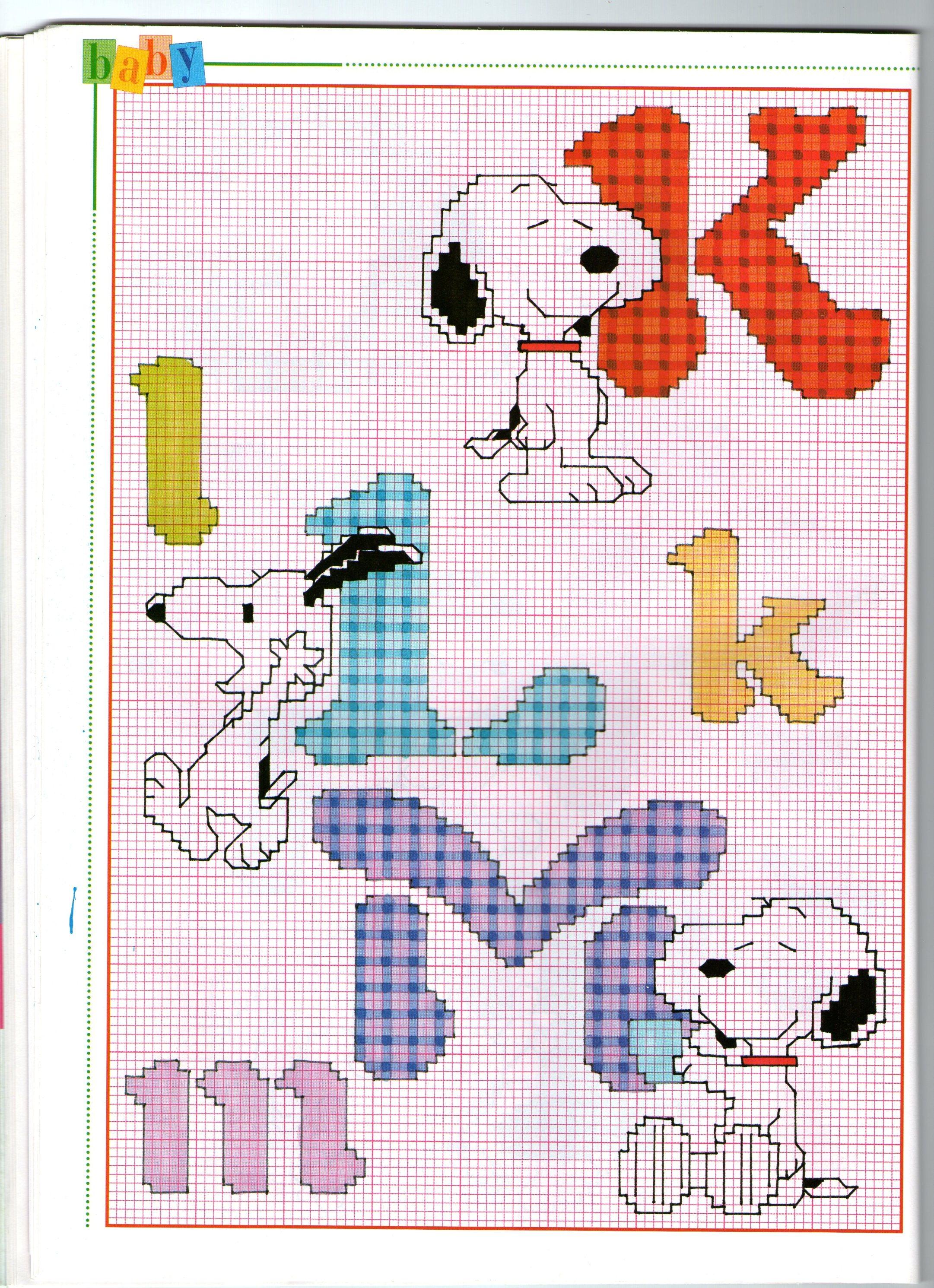 Alfabeto punto croce con il simpatico snoopy personaggio for Schemi punto a croce alfabeto
