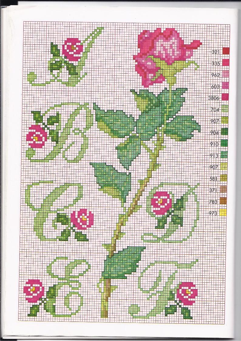 Alfabeto punto croce con le rose 1 for Schemi punto a croce alfabeto