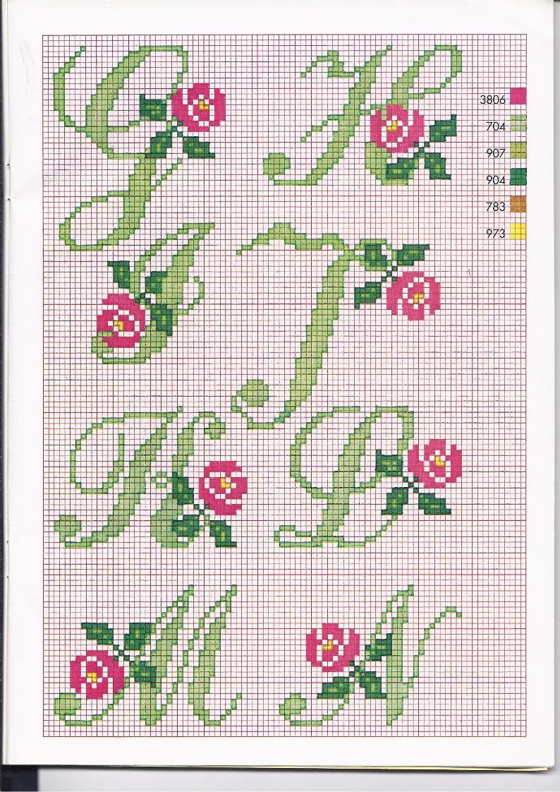Alfabeto punto croce con le rose 2 for Schemi punto a croce alfabeto