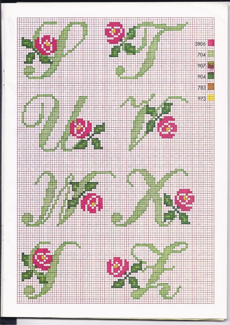 Alfabeto punto croce con le rose 4 for Schemi punto a croce alfabeto