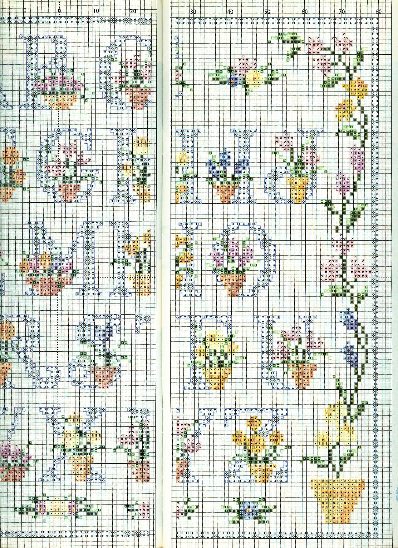 Alfabeto punto croce floreale con lettere azzurre for Schemi punto a croce alfabeto