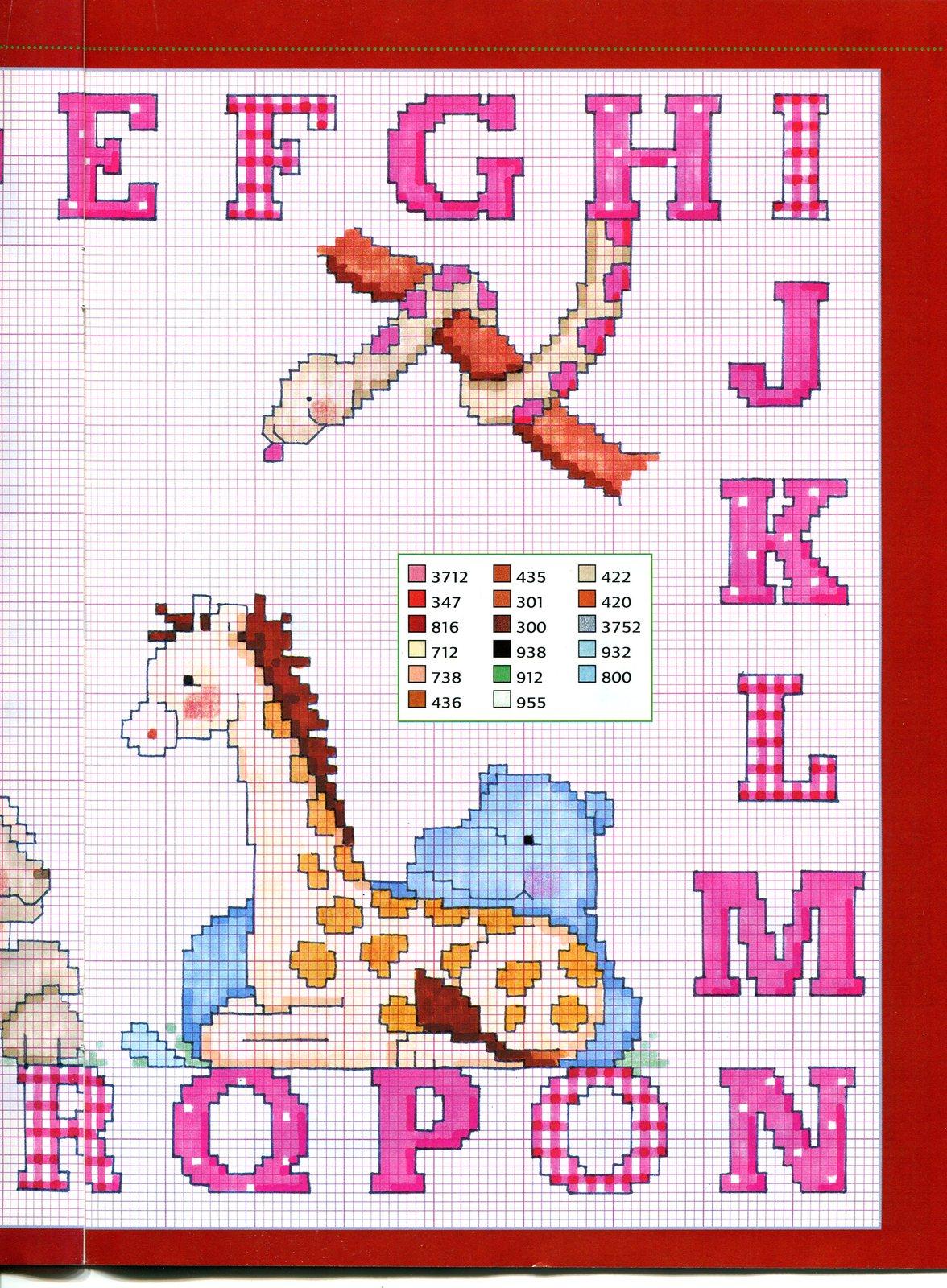 Alfabeto punto croce maiuscolo con animali lettere color for Schemi punto croce animali gratis