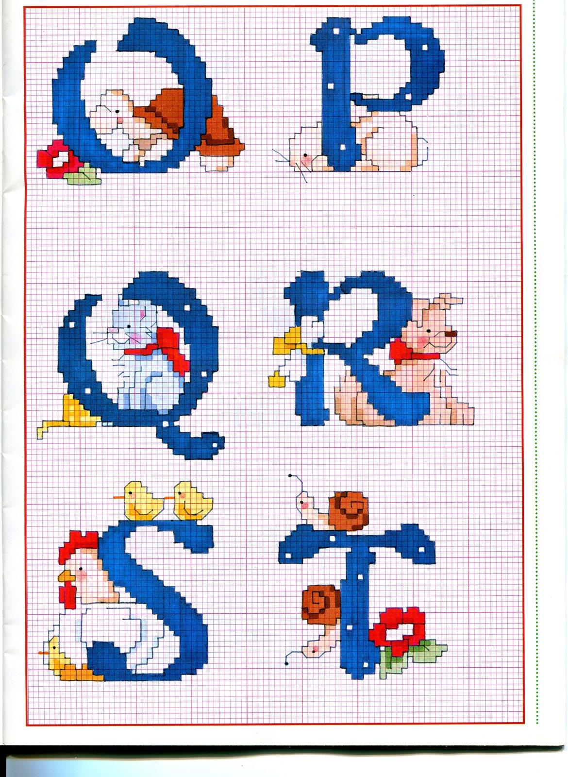 Alfabeto punto croce maiuscolo con animali lumaca cane for Schemi punto a croce alfabeto