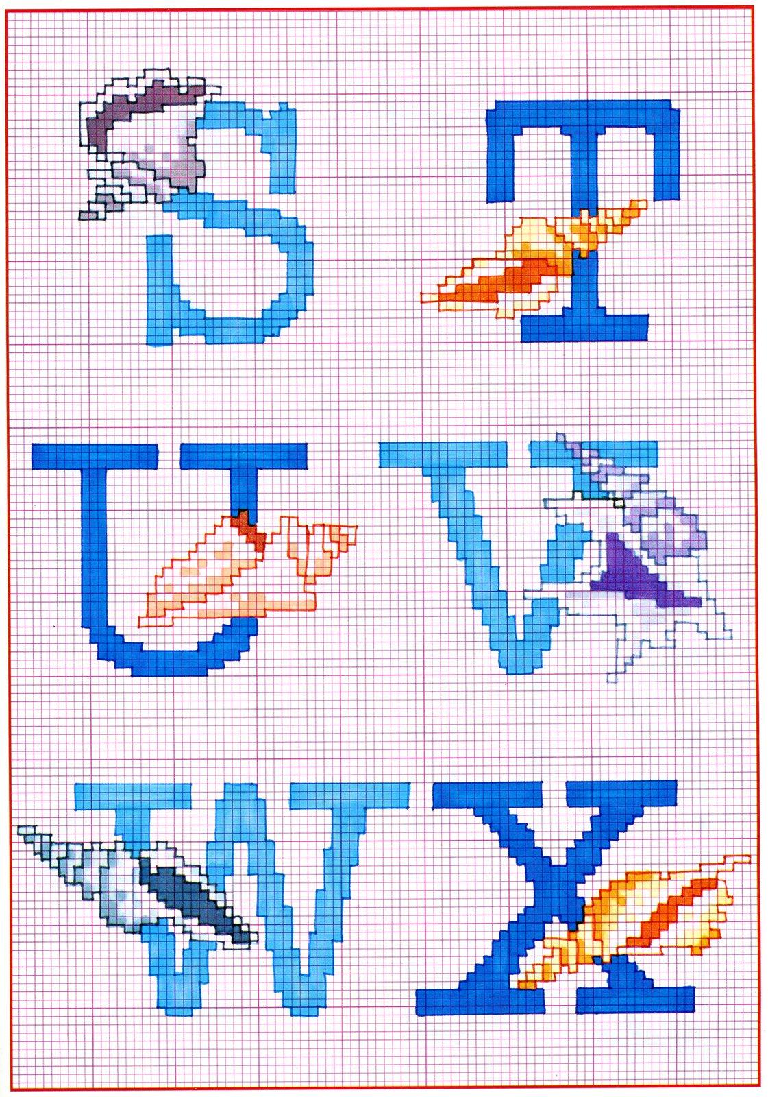 Alfabeto punto croce maiuscolo con pesci e conchiglie 4 for Schemi punto a croce alfabeto
