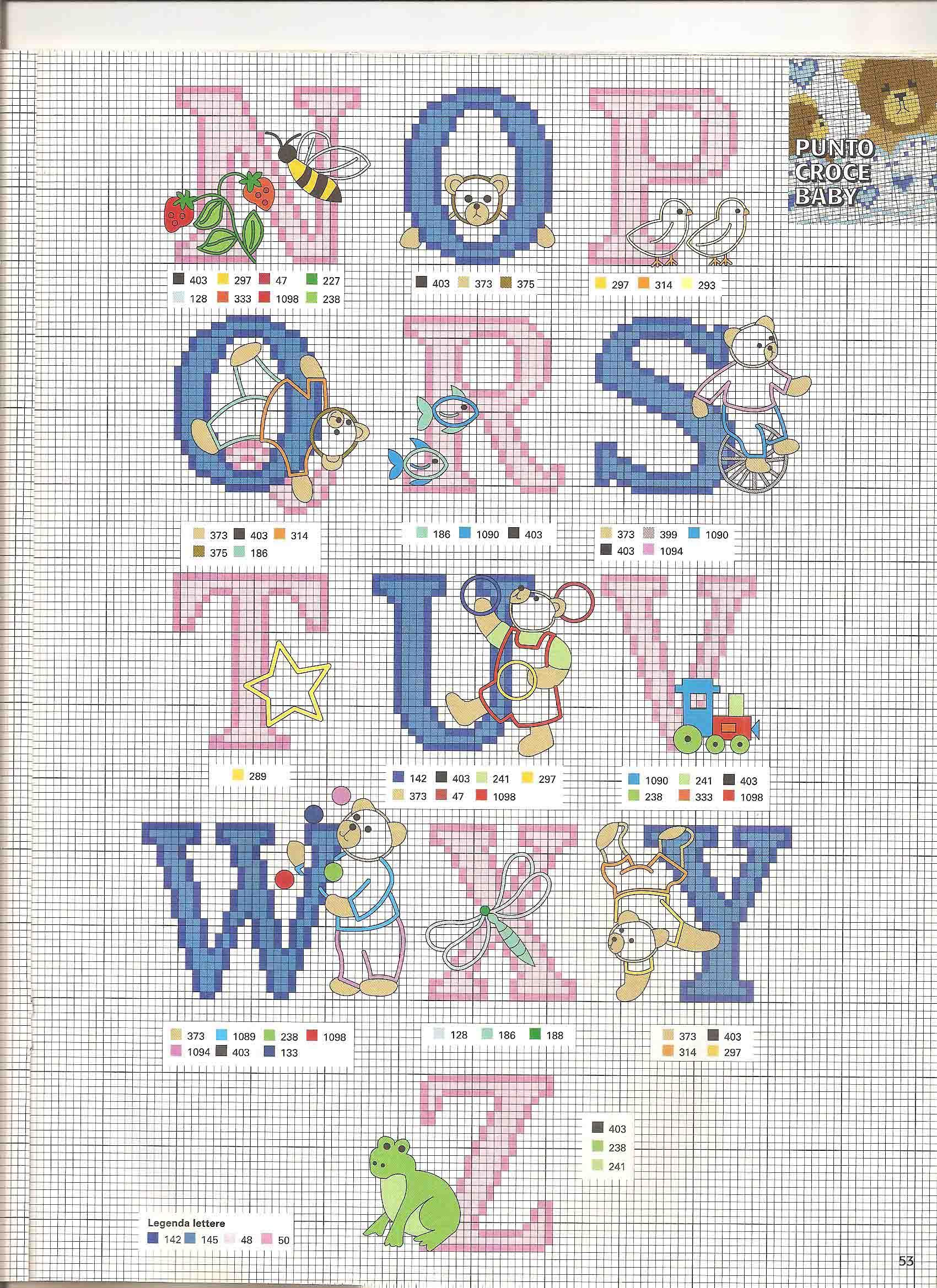 Alfabeto punto croce rosa e azzurro bimbo con gli orsetti for Alfabeto punto croce grande