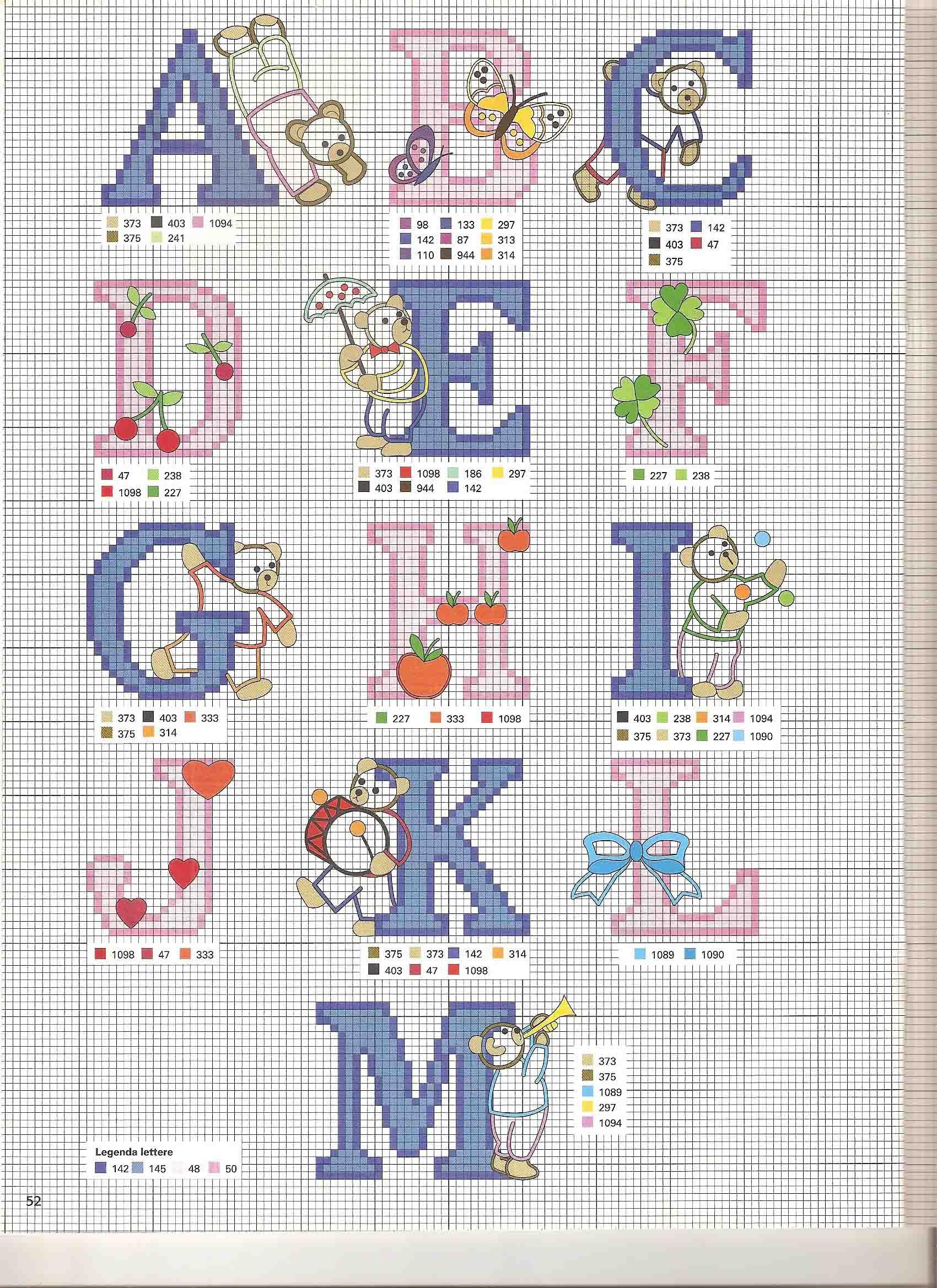 Alfabeto punto croce rosa e azzurro bimbo con gli orsetti for Schemi punto a croce alfabeto