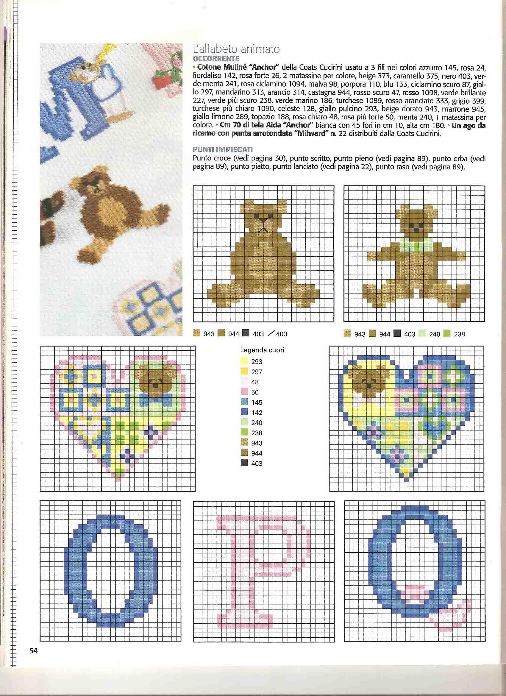 alfabeto punto croce semplice maiuscolo bimbo rosa e blu