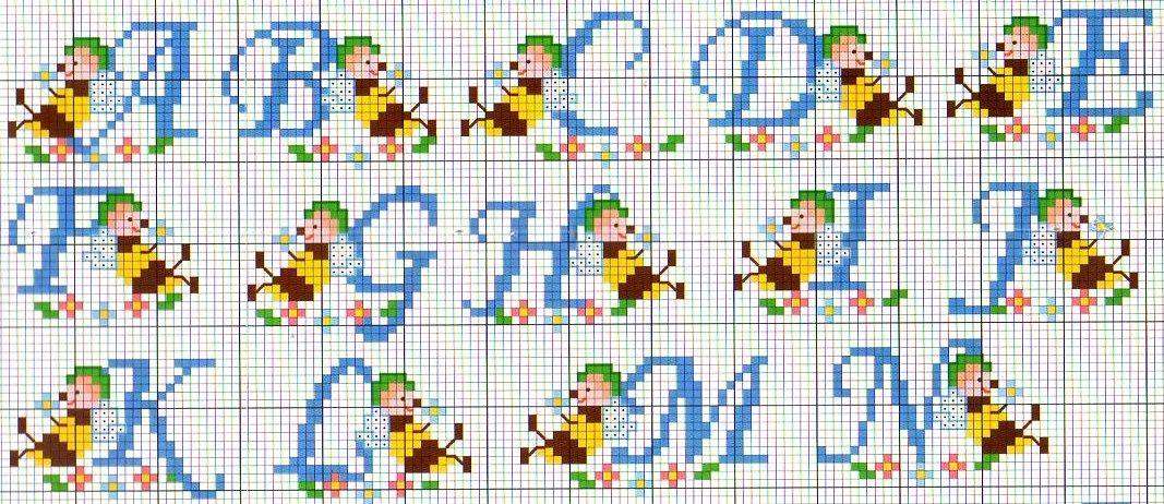Alfabeto apine e fiori 1 punto croce for Alfabeto bambini punto croce