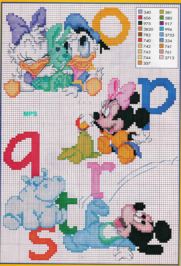 Alfabeto baby disney topolino minnie 3 for Schemi punto croce disney gratis
