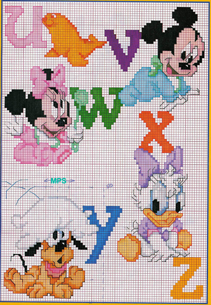Alfabeto baby disney topolino minnie 4 for Disney punto croce schemi gratis