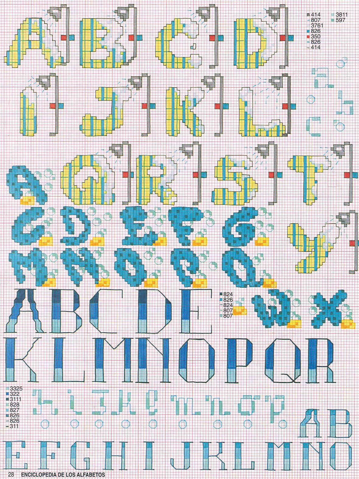 alfabeto bagno con spugne e docce punto croce (1) - magiedifilo.it punto croce uncinetto schemi ...