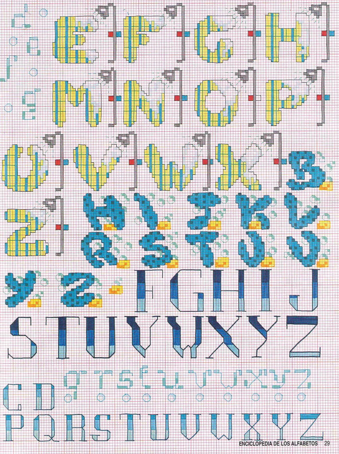 Alfabeto bagno con spugne e docce punto croce 2 - Schemi punto croce bagno ...