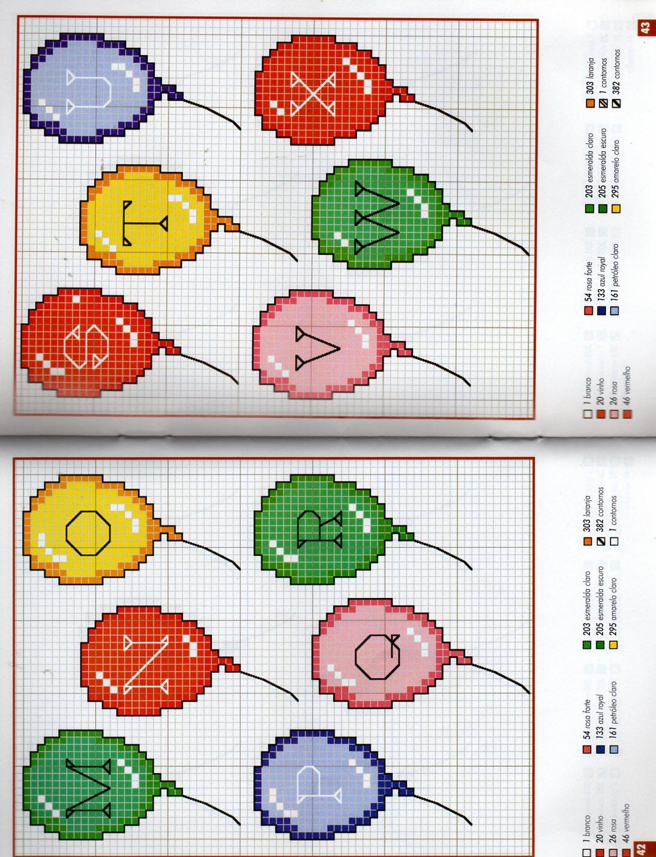 Alfabeto bambini palloncini 2 punto for Schemi punto croce alfabeto bambini