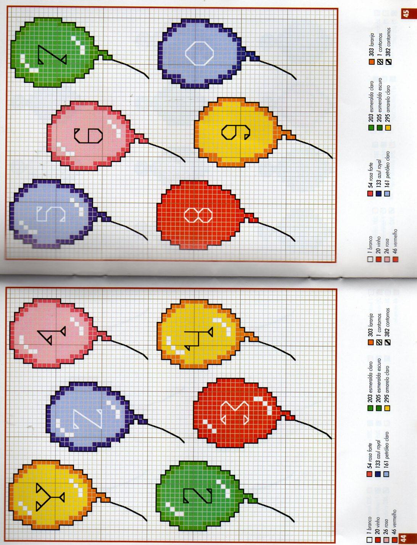 Alfabeto bambini palloncini 3 punto for Schemi punto croce alfabeto bambini