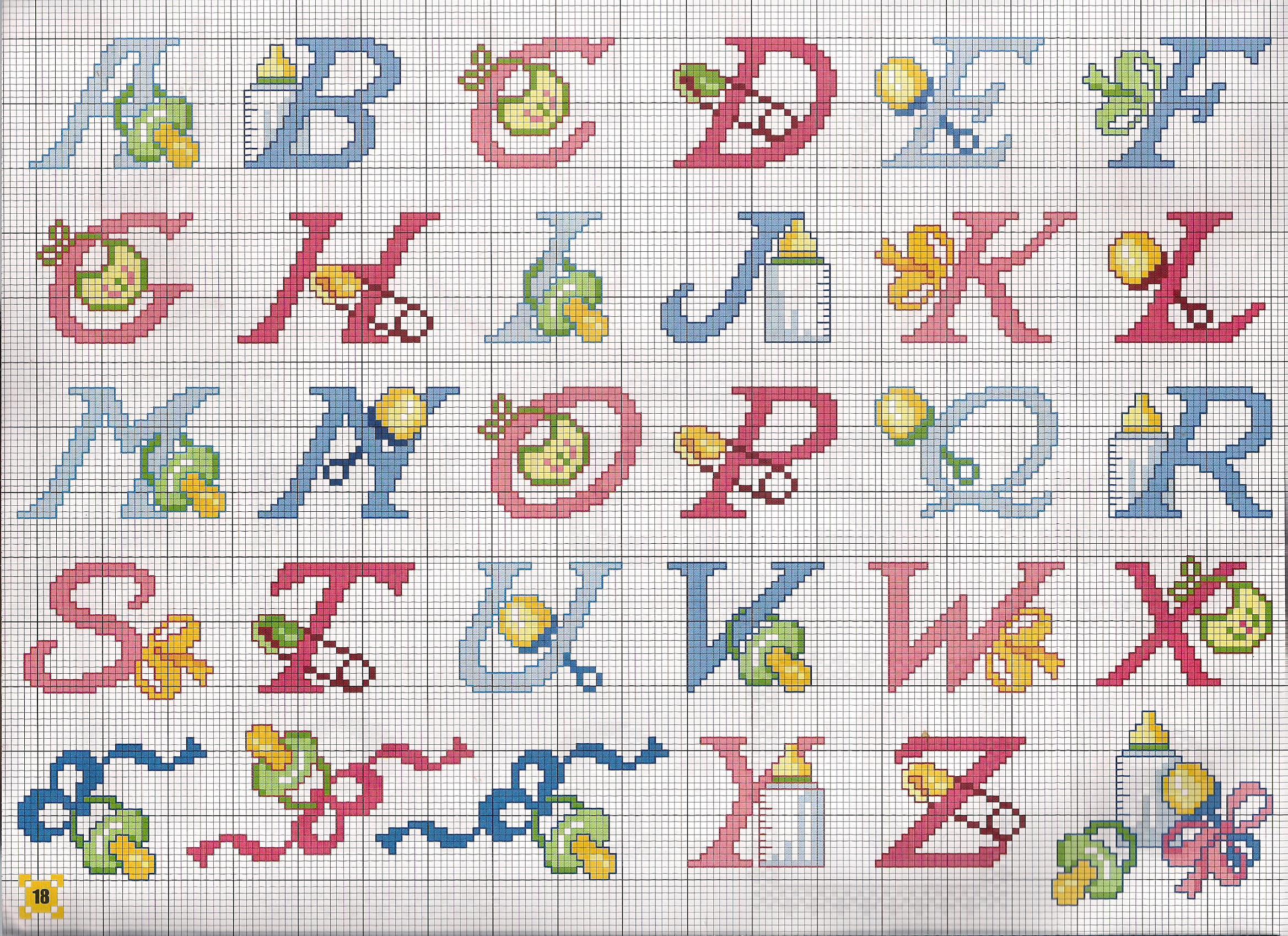 Alfabeto bimbi ciucci biberon punto croce for Punto croce bimbi schemi