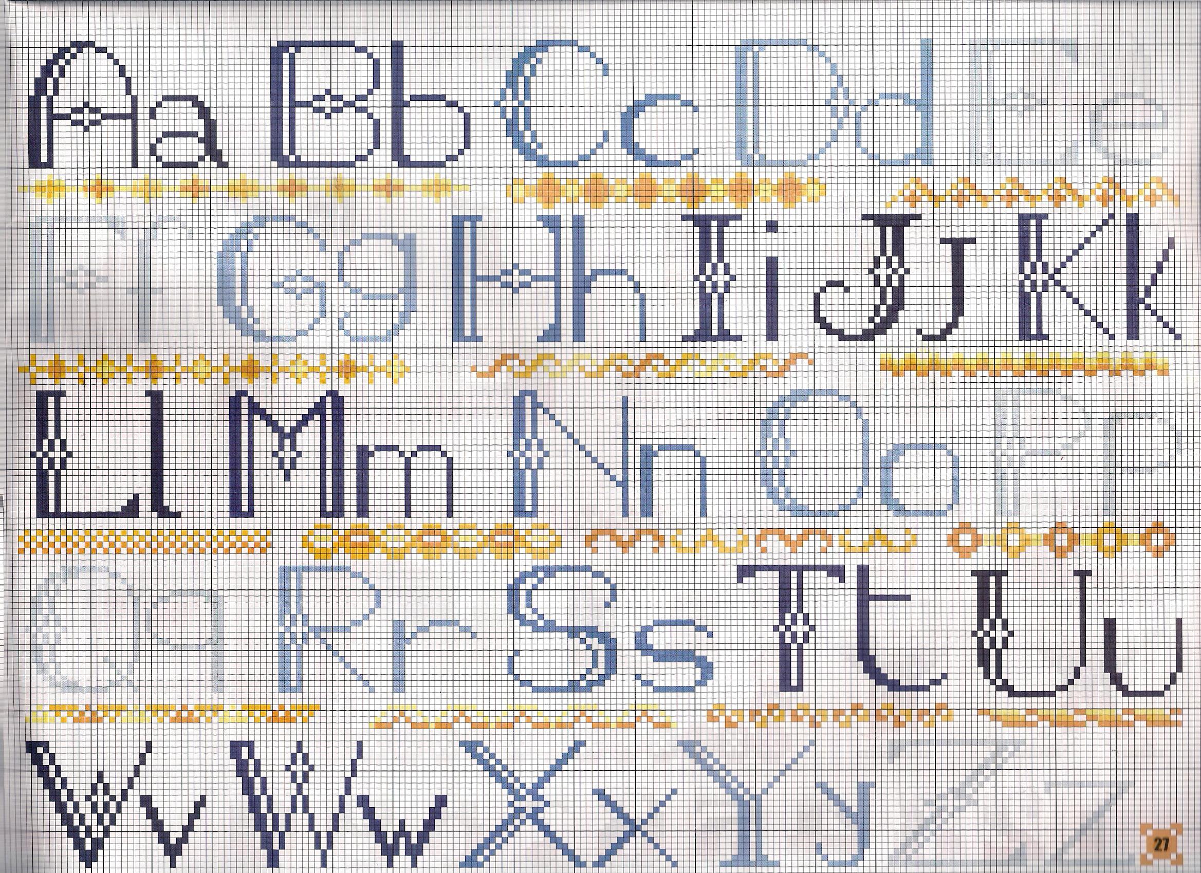 Alfabeto blu punto croce uncinetto schemi for Punto croce schemi alfabeto